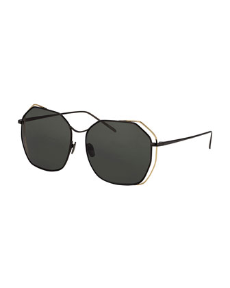 Double-Rim Angled Butterfly Sunglasses, Black/Golden