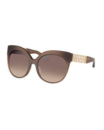 Butterfly Sunglasses w/ Cutout Temples, Mocha/Golden