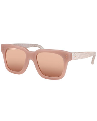 Thick-Rim Square Sunglasses, Rose