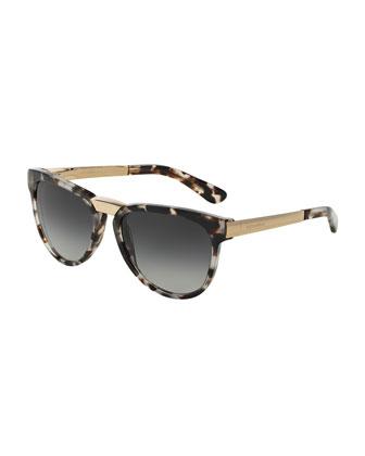 Metal-Bridge Plastic Sunglasses