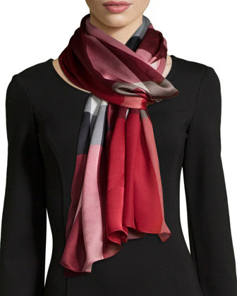 Mega Check Mulberry Silk Scarf, Red