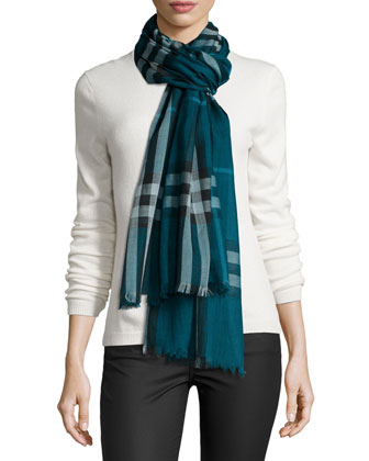 Giant Check Gauze Scarf, Green
