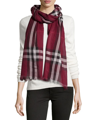Giant-Check Wool/Silk Scarf, Purple