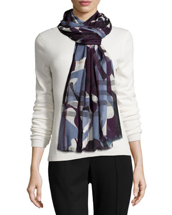 Painted Camo Check Gauze Scarf, Berry