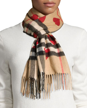 Cashmere Heart and Check Print Scarf, Brown/Red