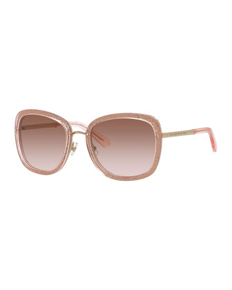 scottie glittered oversized square sunglasses