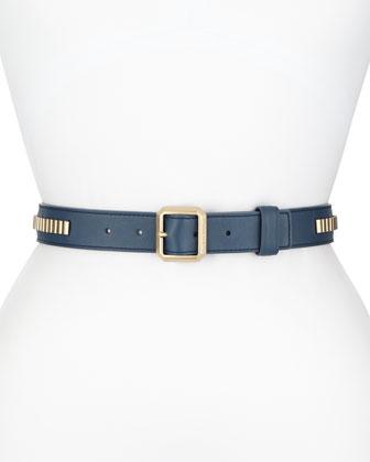Leather Belt w/Metallic Studs