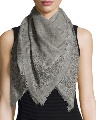 Pietrina Embellished Square Scarf, Gray