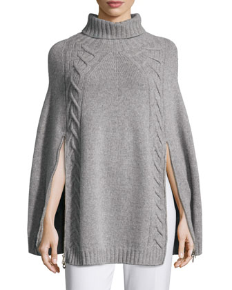 Double-Zip Knit Poncho, Gray