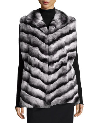 Rabbit Fur Chevron Vest