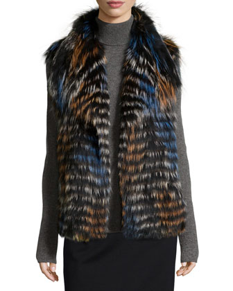 Fox Fur Shawl-Collar Vest, Blue/Orange