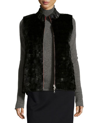 Reversible Mink Fur Vest, Black/Red