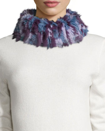 Knitted Rabbit Fur Funnel Scarf