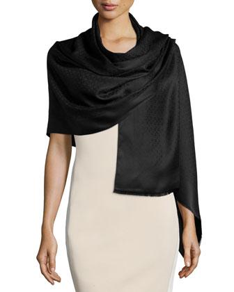 St. Gan Silk-Blend Logo Scarf, Black