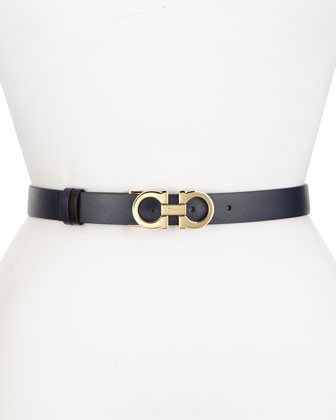 Reversible Gancini-Buckle Leather Belt, Oxford Blue