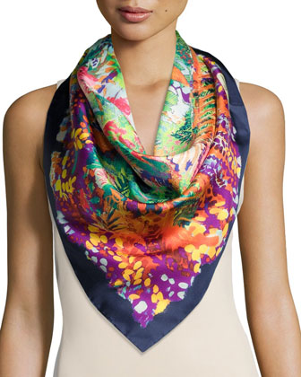 Floral Staircase Silk Scarf, Blue