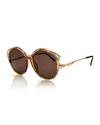 Square Vintage Sunglasses, Rose Gold