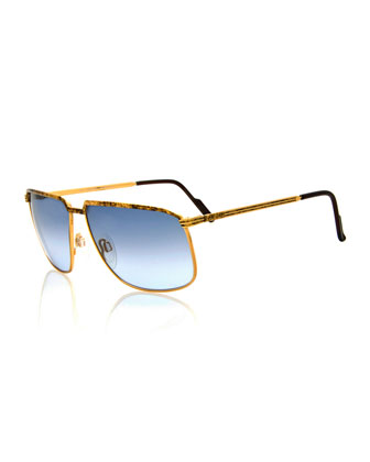 Vintage Angled Metal Sunglasses, Gold