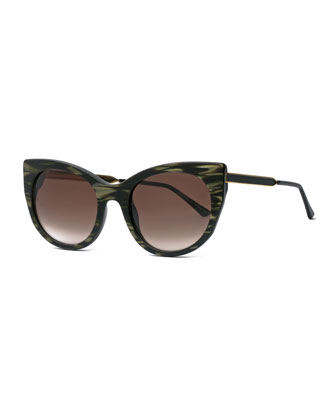 Bunny Marbled Cat-Eye Sunglasses, Green/Brown