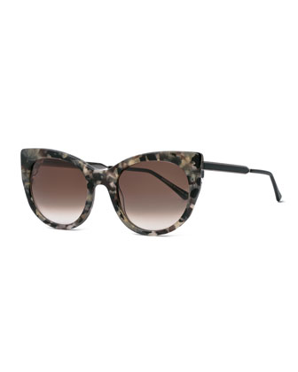 Bunny Marbled Cat-Eye Sunglasses, White/Brown