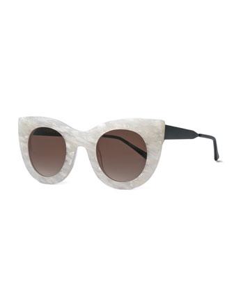 Cheeky Cat-Eye Sunglasses, Pearl