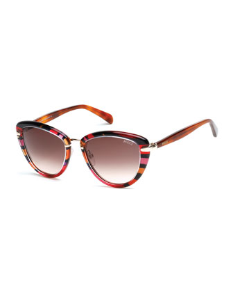 Large Printed Cat-Eye Sunglasses, Fuchsia