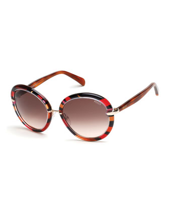 Round Printed Sunglasses, Fuchsia