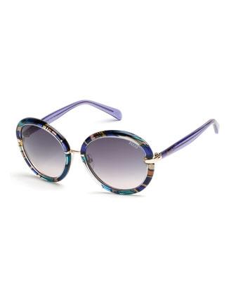 Round Printed Sunglasses, Blue