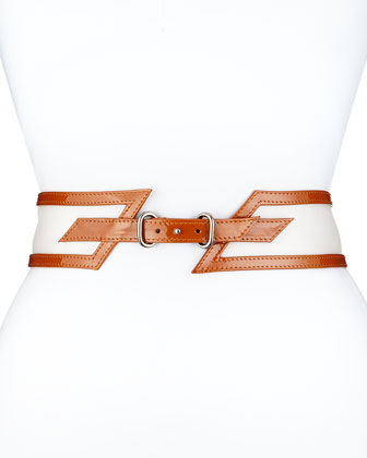 Wide Patent-Leather Belt, Clay