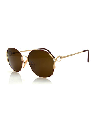 Vintage Rounded Sunglasses, Gold/Burgundy