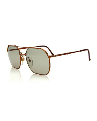 Vintage Brow-Bar Sunglasses, Bronze