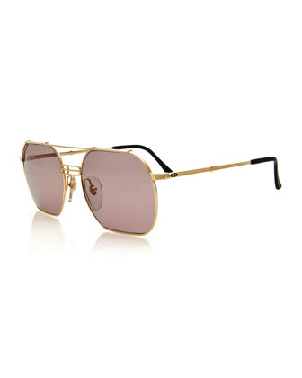 Vintage Brow-Bar Sunglasses, Gold