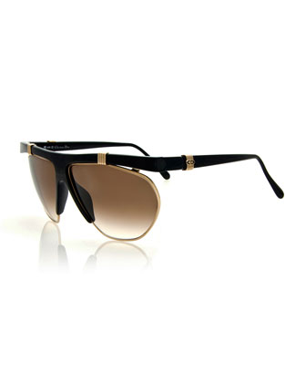 Vintage Wrap Sunglasses, Silver-Gold/Black