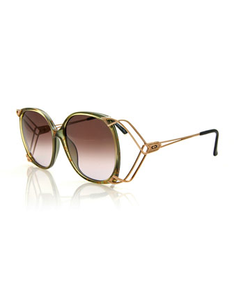 Vintage Wire-Surround Sunglasses, Green