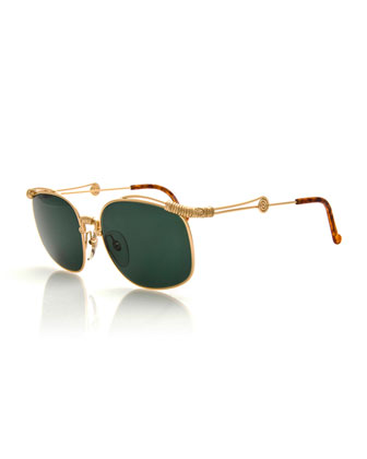 Vintage Wrap-Detail Sunglasses, Gold