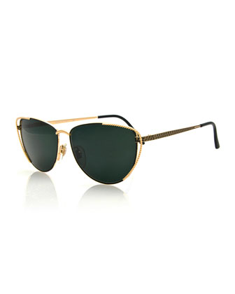 Vintage Cat-Eye Sunglasses, Black/Gold
