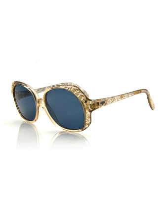 Vintage Oversized Crystal-Temple Sunglasses, Gold