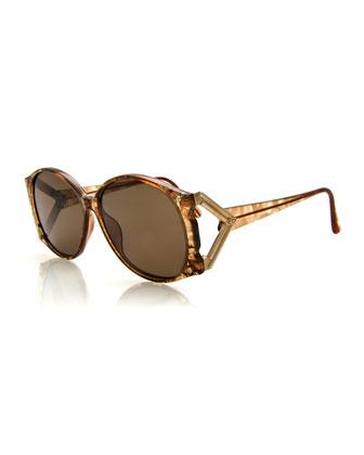 Vintage Sunglasses w/Metal Temple, Brown