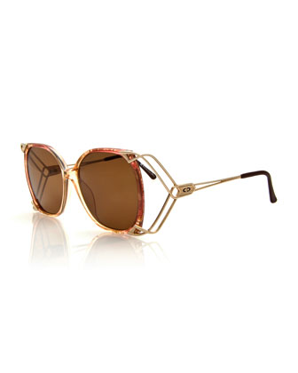 Vintage Wire-Temple Sunglasses, Yellow