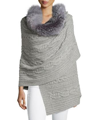 Fur-Trim Cashmere Scarf
