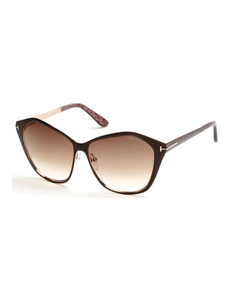 Leana Lacquered Metal Sunglasses