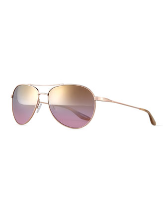 Universal Fit Lovitt Aviator Sunglasses, Gold/Lilac