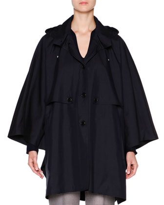 Oversize Poncho Parka W/Removable Hood, Navy