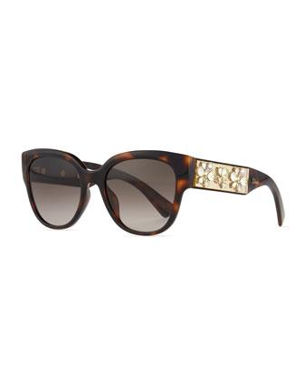 Mercurial Floral-Rhinestone Square Sunglasses