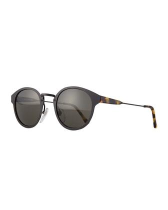 Panama Intellect Round Sunglasses, Black