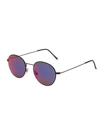 Wire Reflector Prism Round Sunglasses, Black