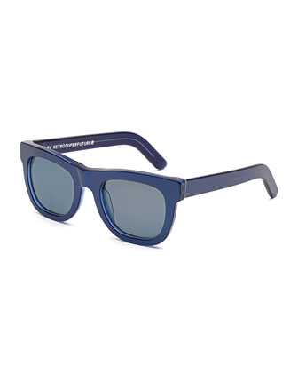 Ciccio Square Sunglasses, Metallic Blue