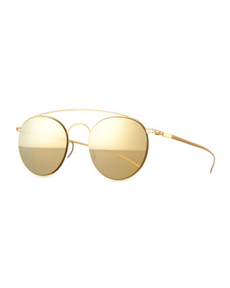 Round Stainless Steel Double-Bridge Sunglasses