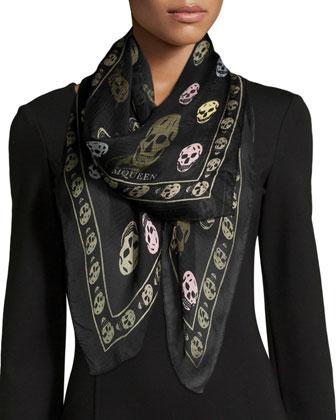 Silk Skull Scarf, Black