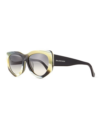 Angled Square Sunglasses, Horn Effect/Black